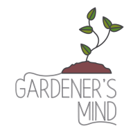 Text reads Gardeners Mind with a drawing of a plant coming out of soil